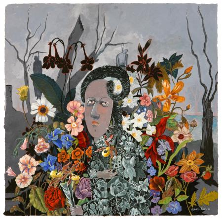 Gray face surrounded by flowers.jpg