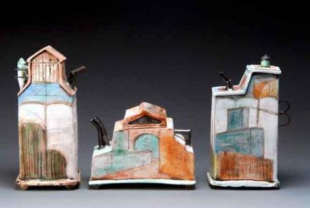 three ceramic vessels