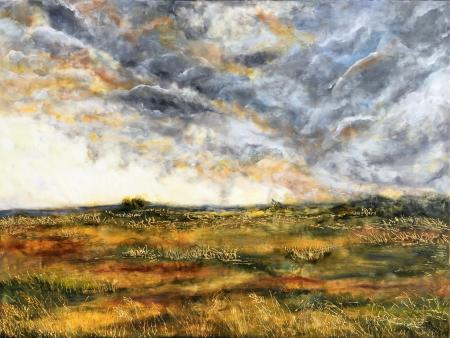 painting of a landscape with bright sun, clouds, and green grass